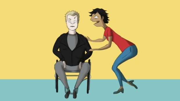 A cartoon of Mik talking to a woman standing next to him