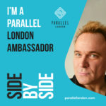 The banner for Parallel London, featuring Mik Scarlet who is acting as an ambassador for the event.