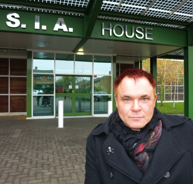 Outside the SIA offices in Milton Keynes